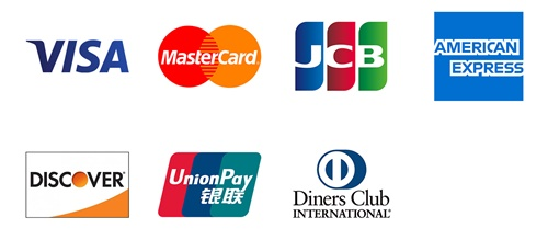 VISA、Mastercard、JCB、アメックス、ダイナース、銀聯、ディスカバーのロゴ